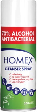 Homex cleanser spray, 70 % alcohol, spuitbus van 200 ml