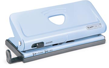 Rapesco metalen 6-gaatsperforator voor organizers, capaciteit: 10 vel, blauw