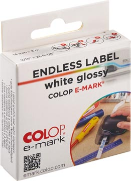 Colop doorlopende labelrol voor e-Mark, ft 14 mm x 8 m, glossy wit