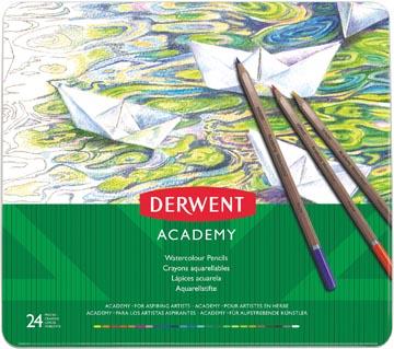 Derwent aquarelpotlood Academy , blik van 24 stuks in geassorteerde kleuren