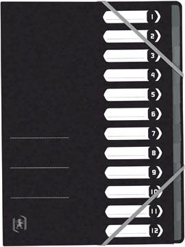 Elba Oxford Top File+ sorteermap, 12 vakken, met elastosluiting, zwart