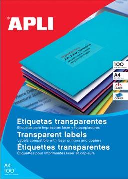 Apli Transparante etiketten ft 70 x 37 mm (b x h), 480 stuks, 24 per blad, doos van 20 blad
