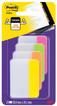 Post-it Index Strong, , ft 38 x 50,8 mm, blister met 4 kleuren, 6 tabs per kleur