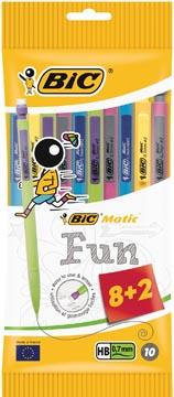 Bic vulpotlood Matic 0,7 mm fun kleuren, ophangzakje met 8 + 2 gratis