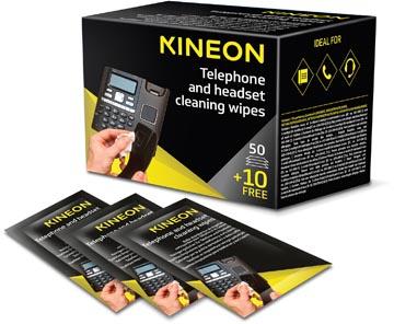 Kineon schoonmaakdoekjes voor telefoon en headsets, individueel verpakt, doos van 50 + 10 gratis