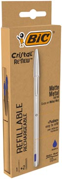 Bic balpen Cristal Re-new, zilveren lichaam, blauwe inkt, doos met 1 stuk en 2 navullingen