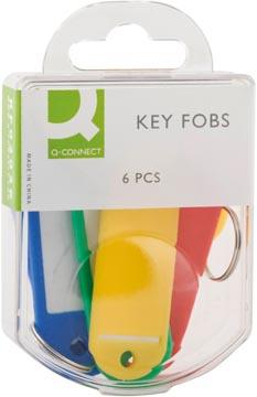 Q-Connect sleutelhanger, pak van 6 stuks, geassorteerde kleuren