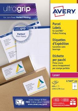 Avery L7169, Verzendetiketten, Laser, Ultragrip, wit, 100 vellen, 4 per vel, 99,1 x 139 mm