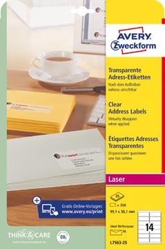 Avery transparante etiketten QuickPEEL ft 99,1 x 38,1 mm (b x h), 350 stuks, 14 per blad