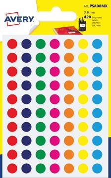 Avery PSA08MX ronde markeringsetiketten, diameter 8 mm, blister van 420 stuks, geassorteerde kleuren